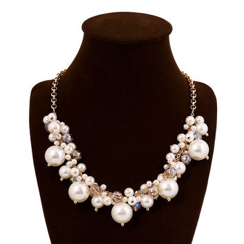 Jewelry New Arrival Shiny Gift Stylish Fashion Accessory Simple Design Elegant Crystal Pearls Costume Necklace [6056666753]