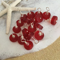 Red Sea Glass Charm Dangles~ Add A Charm ~Beach Glass Necklace ~Sea Glass Charm~Seaglass Jewelry Charms ~ Cultured Sea Glass ~ wire wrapped
