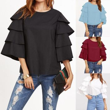 ZANZEA Women's Long Bell Sleeve Flared Casual Solid Crew Neck Blouse Shirt Tops