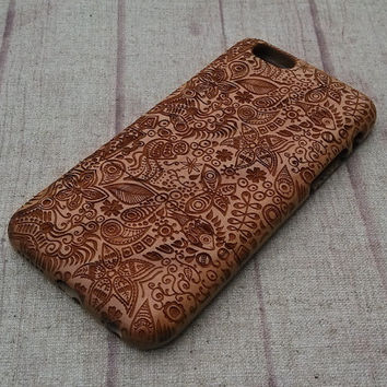 Wood iPhone case, Paisley&fish case, iphone6 case,iphone 6plus, iphone 5 case ,iphone 4, iphone 5c case, wood case,wooden iphone case,gift