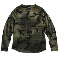 Striped Camo Longsleeve T-Shirt Faded Woodland Camo