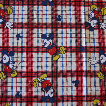 Mickey Mouse Red & Blue Plaid Fabric – 1 YARD
