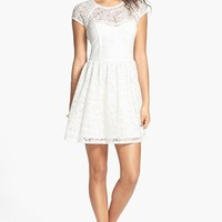 Socialite Illusion Lace Skater Dress (Juniors) | Nordstrom