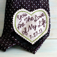 Groom Gift. Groom Gift from Bride. Embroidered Tie Patch. Bride to Groom Gift. Groom Tie. Necktie. Wedding. Mens Ties. Wedding Keepsake.