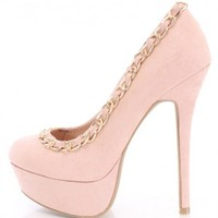 Nude Chain Trimmed Pump Heels Faux Suede