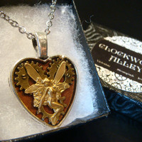 Clockwork Fairy- Heart with Gears Steampunk Fairy Pendant Necklace- (1903)