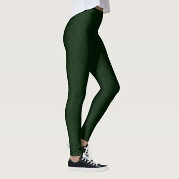 Green Glitter Effect Leggings