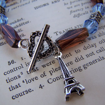 Blue and Brown Beaded Charm Bracelet with Eiffel Tower Charm - Handmade Jewelry - OOAK - Ready to Ship