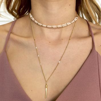 Stand By Me Necklace in Pale Pink