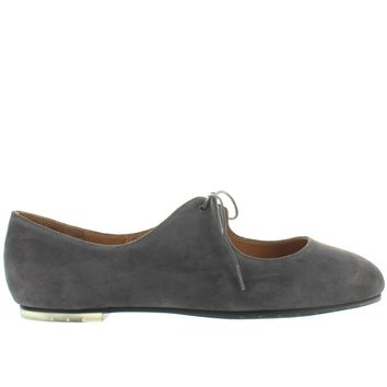 Me Too Cacey - Charcoal Suede Teardrop Tie Ballet Flat