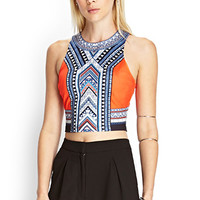 FOREVER 21 Abstract Zippered Crop Top Orange/Cream