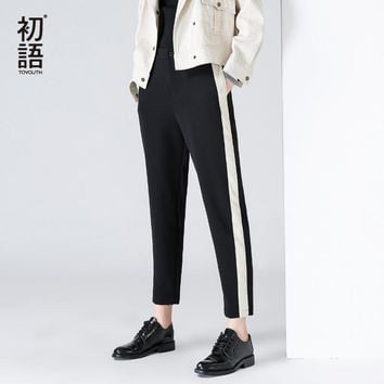Toyouth Harem Pants Spring Contrast Color Women Pant Casual Patchwork Striped Trousers Mid Waist Black Pantalon Femme Size 25-31
