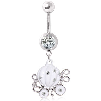 316L Surgical Steel White Enameled Pumpkin Carriage Glass/Gemmed Navel Ring