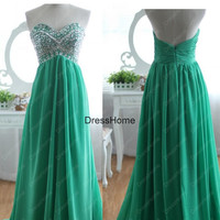 2014 New Green Prom Dress - Long Turquoise Prom Dress / Prom Dress Under 200 / Green Party Dress / Long Turquoise Dress