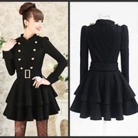New Womens Lady Elegant Cardigan Double-breasted Belt woolen Jacket Coat Black