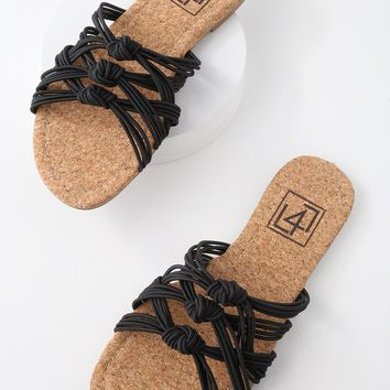 Ink Black Knotted Slide Sandals