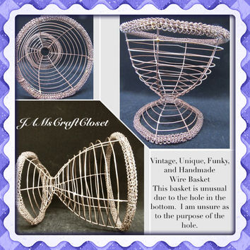 Vintage Wire Basket-Mystery Basket-Unique Basket-Handmade Basket-Country Decor-Home Decor-Gift-Storage-Primitive Basket-Unique Collector