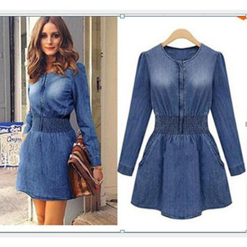 Autumn Shaped Long Sleeve Denim Skirt One Piece Dress [4919470212]