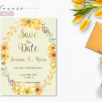 Yellow Flowers Save the Date Invitation Faux Gold Letters Wedding Bohemian Bridal Boho Floral Digital Invite Printable Rustic Card - WS020