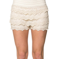 Beige Tiered Lace Shorts