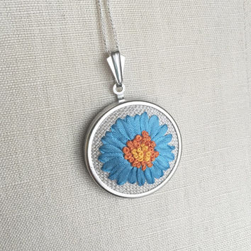 Silk Ribbon Embroidery Embroidered Necklace Gerbera Blue Daisy Flower Pendant or Brooch