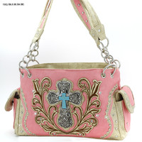 * WESTERN RHINESTONE CROSS HANDBAGS CONCEALED CARRY PURSES In Peach