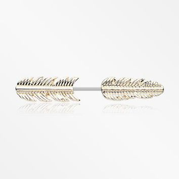 A Pair of Golden Feather Fake Taper Earring