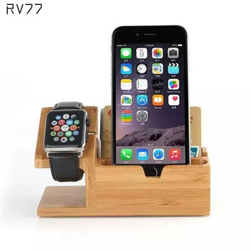 2 in 1 Wood Desktop Charging Dock Stand Station 3-port USB Charging Dock Station For Apple Watch for iPhone 6/6s Plus  38mm 42mm