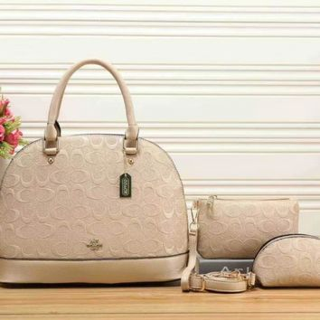 Coach Women Leather Handbag Tote Shoulder Bag Clutch Bag Cosmetic Bag Set Three Piece