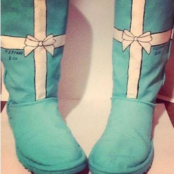 V0NE05 Hand painted Tiffany co ugg Swarovski Tiffany blue boots flats toms