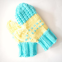 Yellow and teal, hand knit mittens, soft mitts, chunky knit mittens
