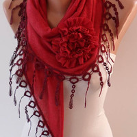 Autumn Scarf - Burgundy Scarf with Rose - Knit Tricot Fabric  Scarf with Trim Edge