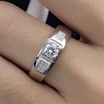 Fashion Casual Jewelry Unique Mens Silver Ring with Diamond Adjustment Best Gift One Size Rings-79