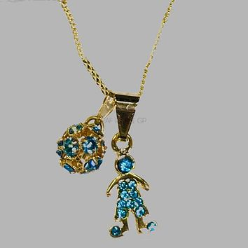 Electric Blue Sphere Necklace Set 18kts Of Gold Plated