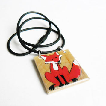 Fox Jewelry, Red Fox Necklace, What Does The Fox Say Jewelry, Fox Square Pendant, Hand Painted Foxy Foxes Animal Jewelry - Wildlife Jewelry