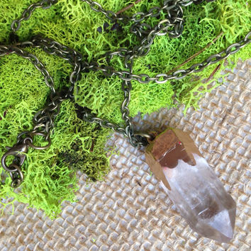Clear Quartz Crystal Necklace Gold Crystal Healing Crystals and Stones Bohemian Necklace hippie Necklace Festival Necklace Layering Necklace