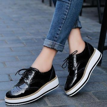 VONE05F8 pinsen Women shoesplatform brogue flats leather shoes lace up brand female footwear oxfords shoes for Women creepers