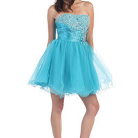 Short Tulle Homecoming Dress in Turquoise