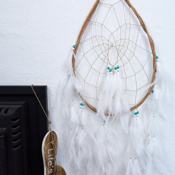 Teardrop Dreamcatcher - Large White Dream Catcher, Wall Hanging Dreamcatcher, Wall decor, Wedding Decor, Handmade, Boho Baby, Boho
