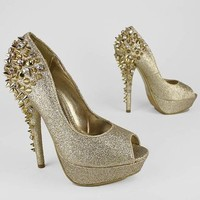 glitter spiky stud peep toe pump $60.50 in BLACK GOLD SILVER - Stunning Shoes | GoJane.com