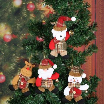 Santa Snowman Doll Pendant for Christmas Tree Hanging Ornament Xmas New Year Festival Decoration for home Holiday Party Supplies