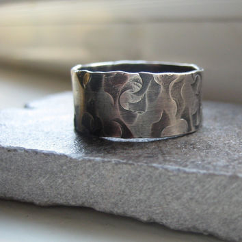Sterling rustic hammered band