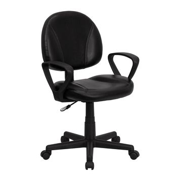 Offex Mid-Back Black Leather Ergonomic Mobile Computer Home Office Desk Task Chair with Arms