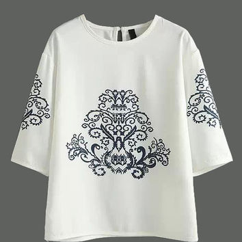 White Floral Embroidered T-Shirt