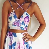 White Blue Pink Purple Floral Cross Strap Halter V Neck Crop Top Pleated Short Two Piece Romper