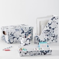 Printed Paper Desk Accessories, Charcoal Floral