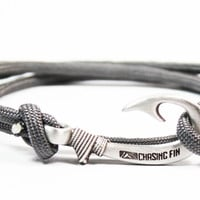 Charcoal Gray Fish Hook Bracelet (New)