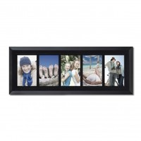 """Adeco Decorative Black Wood Divided, Wall Hanging Picture Photo Frame, 5 Openings, 4x6"""""""