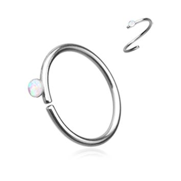 White Opal Bendable Nose Ring Nose Hoop  20ga Body Jewelry Steel
