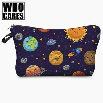 Kawaii Space Planet Funny Character 3D Print Cosmetic Bag 2017 Women Organizer Makeup Toiletry Bag with Zipper Neceser Trousse